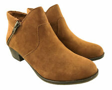 LADIES FAUX SUEDE COWBOY ANKLE BOOTS CHESTNUT DOUBLE ZIP SIZE 6-10 RRP: £100