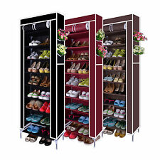 10 Tier Shoes Cabinet Storage Organizer Shoe Rack Portable Wardrobe With Cover