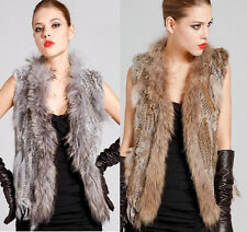 Real Farm Knitted Rabbit Fur Waistcoat/Vest/Gilet Thanksgiving Day Collar Tassel