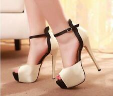 Womens Platform High Heel Stiletto Peep toe ankle strap Pumps party Sandal shoes