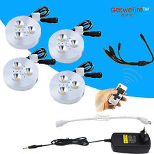 RF dimmable 3-5pcs DC 12v 3W LED Puck/Cabinet light&connect wire&dimmer&adapter