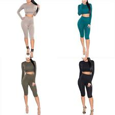 New Women Gym Yoga Sweat Suit Bodycon Tracksuit Long Sleeve Crop Top Fifth Pants