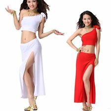 Belly Dance Costume Siamese Blouse Top + One side Slit Long Hip Skirt Prom Dress