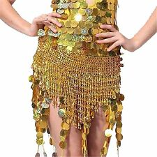Luxury Chain Belly Dance Hip Scarf Tassels Beads Bell Skirt Wrap Belt Costume