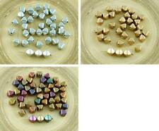 30pcs Matte Metallic Czech Glass Faceted Bicone Beads Pyramid Spacer 6mm