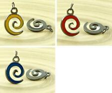1pc Spiral Enamel Czech Findings Black Silver Pendant Focal Handmade 19mm