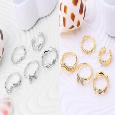 5pcs Set Crystal Bow Stack Above Knuckle Band Midi Finger Tip Rings Silver/ Gold