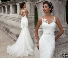 Sexy Appliques Mermaid White Ivory Long Bridal Gowns Wedding Dresses Size 2-18+