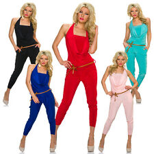 Ladies Halter neck Jumpsuit Overall Catsuit with belt Party Club Trousers S 32