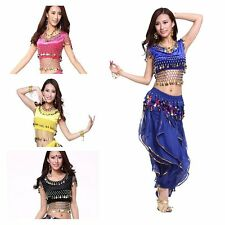 Belly Dance Bra Tops Velvet Coins Dancing Tribal Bollywood Costume Blouse M L
