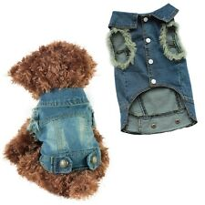Pet Dog Puppy T Shirt Blue Jeans Lapel Coat Cat Jacket Clothes Apparel Jumpsuit