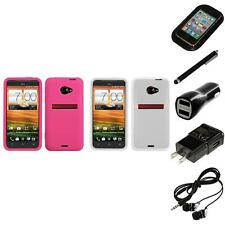 For HTC EVO 4G LTE Silicone Skin Rubber Soft Case Phone Cover Headphones