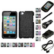 For Apple iPod Touch 4th Gen Diamond Diamante Bling Rhinestone Case Headphones
