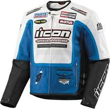 Icon™ Men's Victory Hero White/Blue Leather Armored Motorcycle Jacket  2810-155_