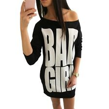 Girl Letters Print T Shirt Long Sleeve Loose Tunic Casual Long Top Dress