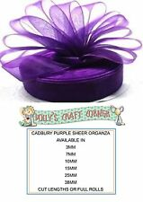 CADBURY PURPLE ORGANZA RIBBON, MANY WIDTHS AND LENGTHS 3MM TO 38MM WIDE