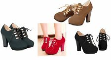 Women's High Heels Ankle Boots Lace Up Platform Fashion Shoes