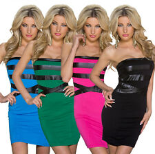 Sexy Ladies Mini Dress Bandeau Shift Dress top Leather look Fashion Party Club