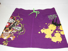 Don Ed Hardy Womens Missy French Terry Mini Skirt Love Kills Slowly Purple NWT