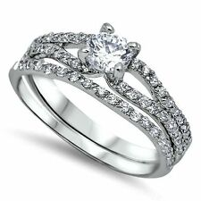 .925 Sterling Silver Wedding set size 7 CZ Round cut Engagement Ring New z10