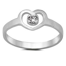 925 Sterling Silver Ring CZ Kids Heart Baby Midi Knuckle size 1-5 New x43