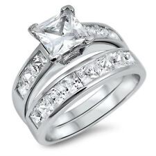 925 Sterling Silver Wedding Set CZ Princess Cut Engagement Ring size 5-10 New