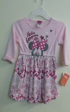 New Disney Girls Toddler Long Sleeve Minnie Mouse Printed Tutu Dress SZ 4T-5T-6T
