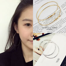 New Fashion 1Pair Big Gold/Silver Plated Hoop Earring Large Circle Hoops Jewelry
