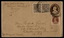 India Bombay to Us 1938 Uprated Postal Stationery Cover Mixed Reign Franking