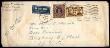 India Madras to Us Boston MA 1946 Airmail Cover with Label Tied