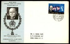 Hong Kong Kenned Town 1966 Postmark on Churchill FDC Sc 225