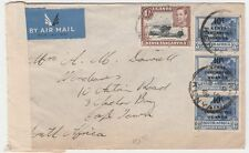 Kenya to South Africa Cape Town 1940s WWII Censored airmail Cover