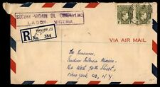REGISTERED NIGERIA AIRMAIL NEAT COVER TO NEW YORK CITY US 1949 WITH DESTINATION