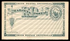 2 Centavos mint postal stationery card reply card Dominican Republic