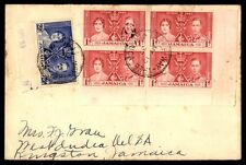 Jamaica 1937 1d Coronation Block of 4 on First Day Cover FDC