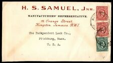 Jamaica Kingston to US Fitchburg MA 2 Color Franking on cover