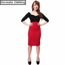 Collectif Fiona Skirt in Red - 40s 50s Vintage Inspired Rockabilly Pinup