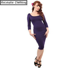 Collectif Purple Tempest Pencil Dress - 1950s Vintage Inspired Rockabilly Pinup