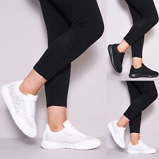 LADIES DIAMANTE TRAINERS SPORTS RUNNING GYM FITNESS EXERCISE FASHION SHOES SIZE