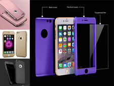 Hybrid 360 Hard Ultra thin Case Tempered Glass Cover For iPhone 6 6s Plus 7 Plus