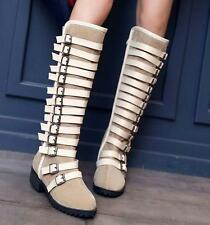 Womens Buckles Knee High Boots Warm Winter Casual Zip Cuban Heels Vogue riding