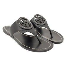 Tory Burch Louisa Flat Thong Sandals - Micro Tumbled Leather - Black