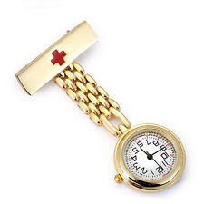 Fashion Gold/Silver Nurse Doctor Pendant Quartz Red Cross Brooch Fob PocketWatch