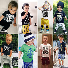 2pcs Infant Kids Baby Boys Clothes T-shirt Tops+Shorts Pants Trousers Outfit Set