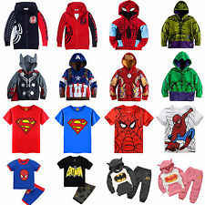 Kids Superhero Clothes Boys Girls Hoodies Sweatshirt Coat Tops T-Shirt Tracksuit