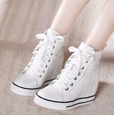 Fashion Womens Girls Hidden Wedge Heel Lace Up Casual Sneakers ankle Boots Shoes
