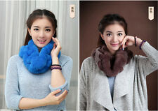 NEW Fashion Womens Girls Warm Soft Scarf Genuine Rex Rabbit Fur Scarves Wraps