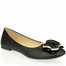 WOMENS LADIES FLAT BALLERINA DOLLY BALLET OFFICE PUMPS METAL SHOES SIZE
