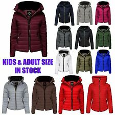 Ladies Quilted Padded Bubble Fur Womens Kids Thick Puffer Coat Jacket Plus Size