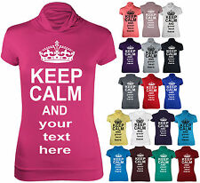 KEEP CALM Womens Short Cap Sleeve Polo Turtle Neck Ladies T-Shirt Top Plus Size